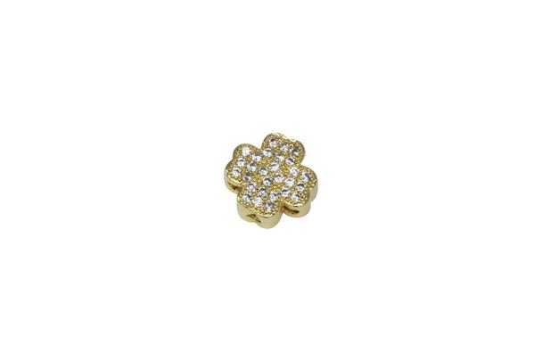 Gold Shamrock 10mm Micro Pave 3 Hole Bead