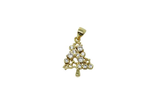 Gold Micro Pave Christmas Star Tree Charm