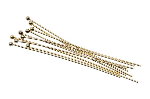 "Gold Filled 1.5"" Long 24 Gauge Ball End Head Pins - 10 Pieces"