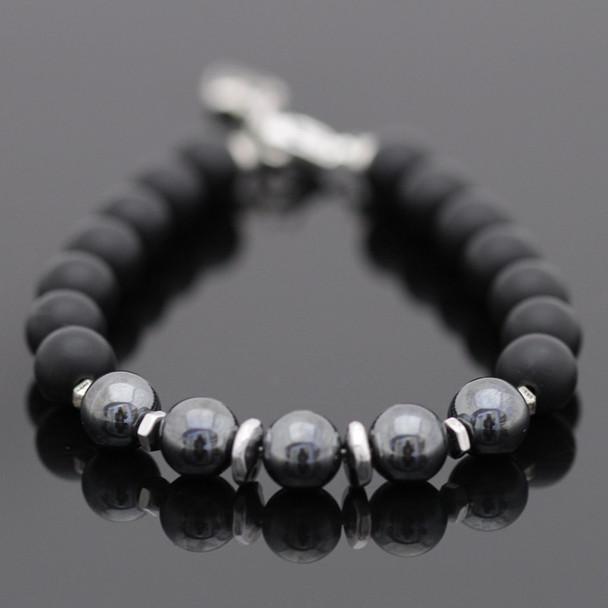Modern Gemstone Bracelet Kit - Hematite & Matte Onyx