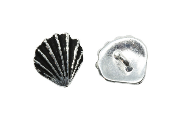 Scallop Shell Button - Silver Plated