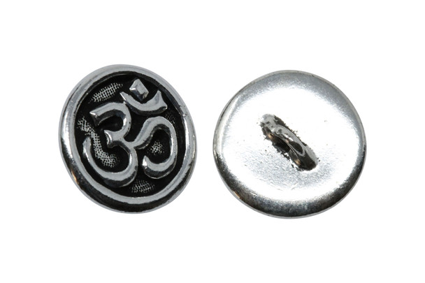 Om Button - Silver Plated