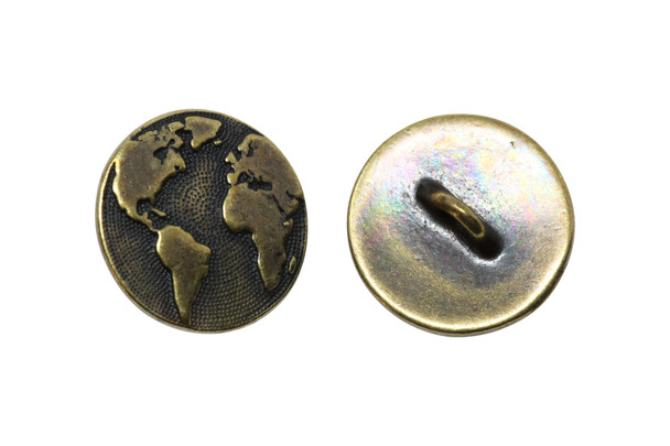 Earth Button - Brass Plated