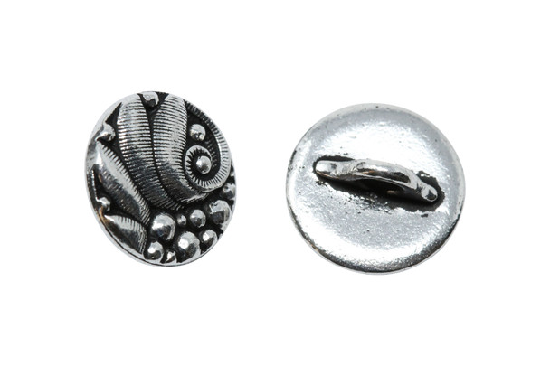Czech Round Button - Silver Plated