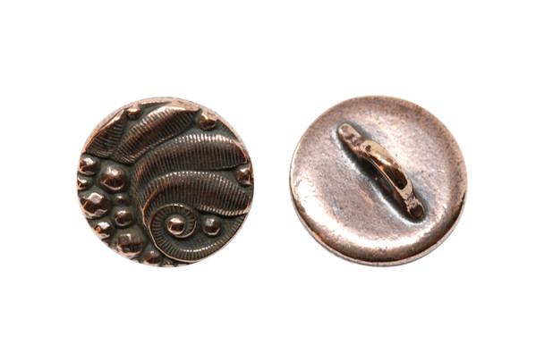 Czech Round Button - Copper Plated
