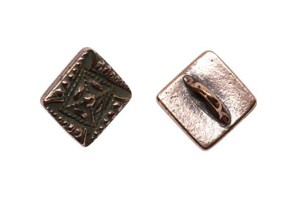 Czech Square Button - Copper Plated