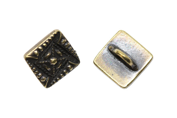 Czech Square Button - Brass Plated