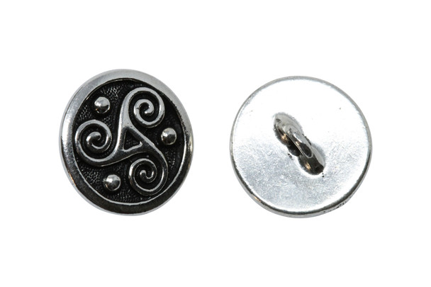 Triskele Button - Silver Plated