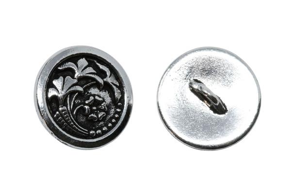 Czech Flower Button - Silver Plated