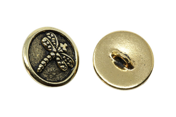 Dragonfly Button - Gold Plated
