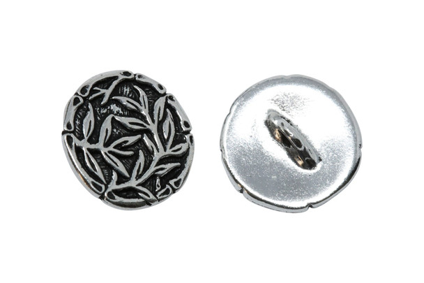 Bamboo Button - Silver Plated