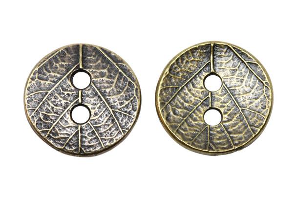 Round Leaf Button - Antique Brass
