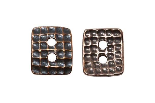 Hammered Rectangle Button - Copper Plated