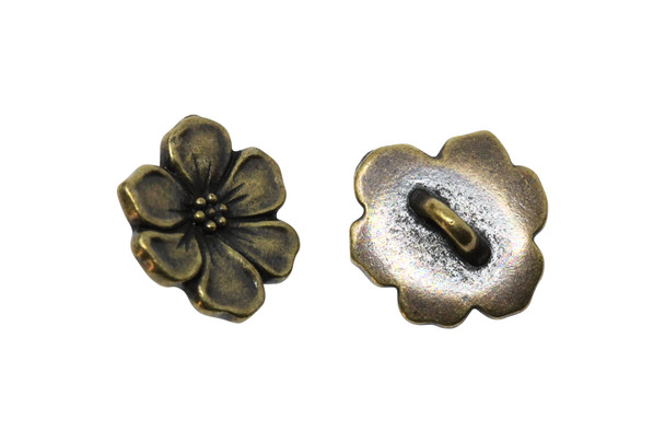 Apple Blossom Button - Brass Plated
