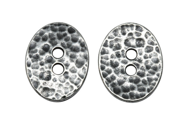 Distressed Oval Button - Antique Pewter
