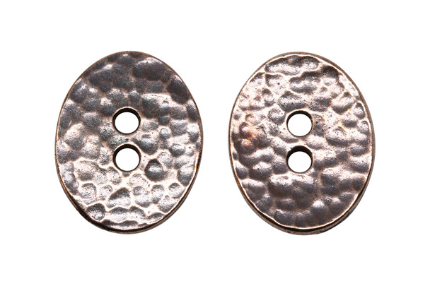 Distressed Oval Button - Copper Plated