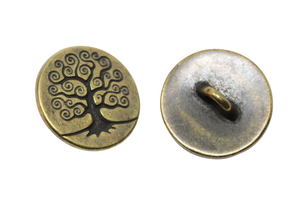 Tree of Life Button - Brass Plated