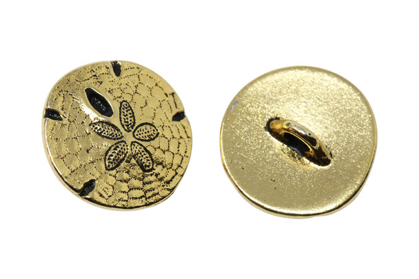 Sand Dollar Button - Gold Plated
