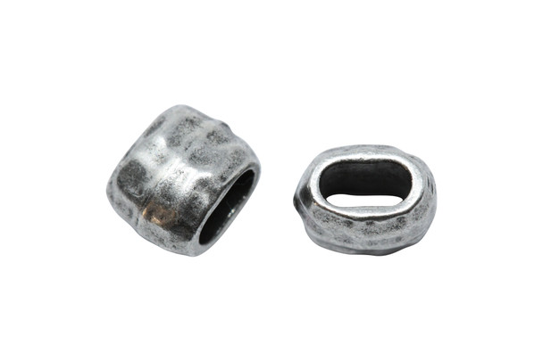 Distressed 4x2mm Barrel Bead - Antique Pewter Plated