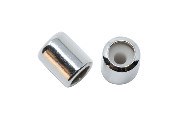 Silicone Barrel Bead - 7mm Silver
