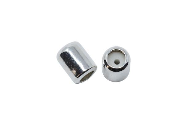 Silicone Barrel Bead - 4.5mm Silver