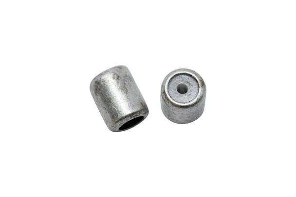 Silicone Barrel Bead - 4.5mm Antique Silver