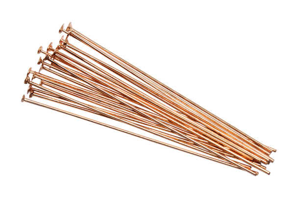 """Plated Copper 1.5"""" Long 24 Gauge Head Pins - 20 Pieces"""
