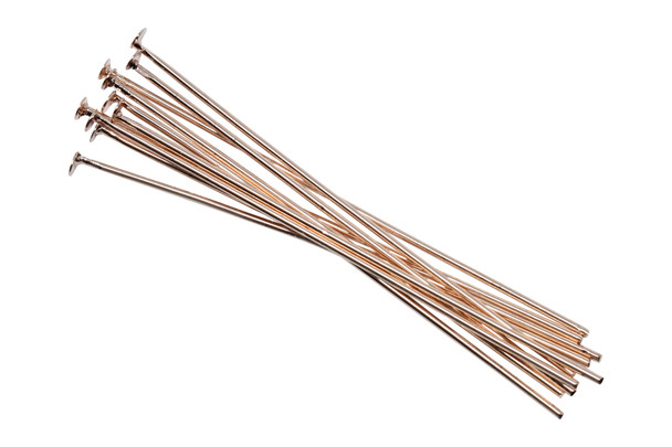 """Rose Gold Plated 2"""" Long 20 Gauge Head Pins - 10 Pieces"""