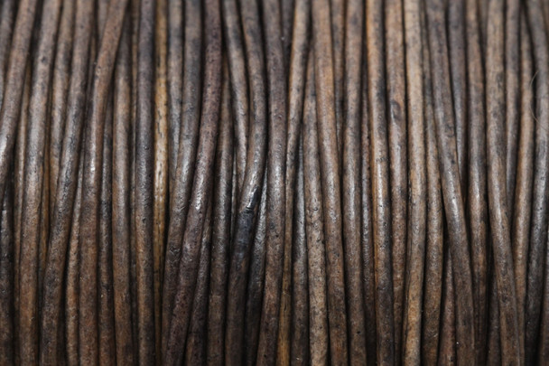 Natural Grey 1.5mm Leather Cord - Sold by the Foot