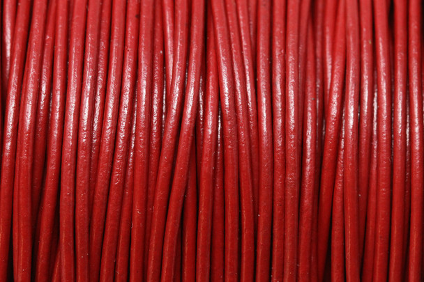 Red 1.5mm Leather Cord - Sold by the Foot