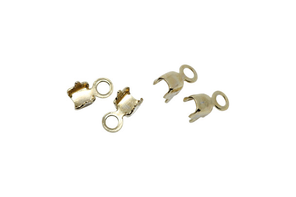 Gold Plated Rhinestone End Connector 2mm - 4 Pieces