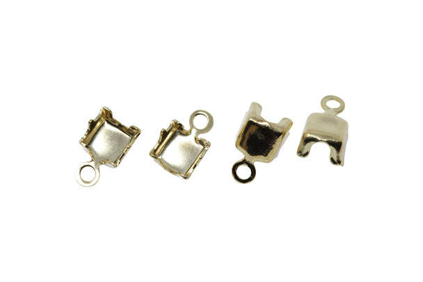 Gold Plated Rhinestone End Connector 4mm - 4 Pieces