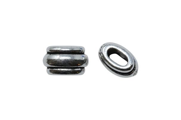 Deco 4x2mm Barrel Bead - Silver Plated