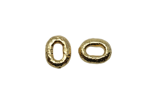 Distressed Oval Bead - Gold Plated