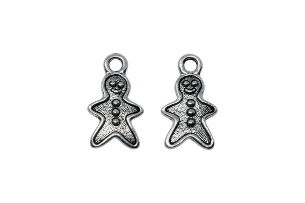 Gingerbread Man Charm - Silver Plated
