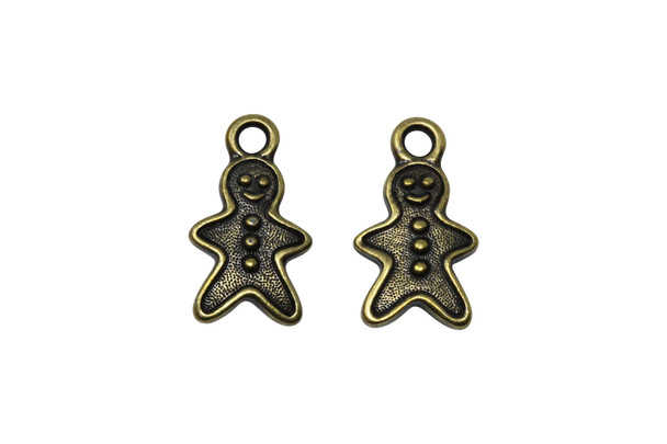 Gingerbread Man Charm - Brass Plated