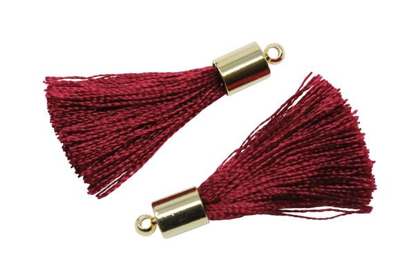 Dark Red 27-30mm Tassel with Gold Cap