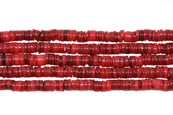 Dyed Shell Polished 6mm Irregular - Red