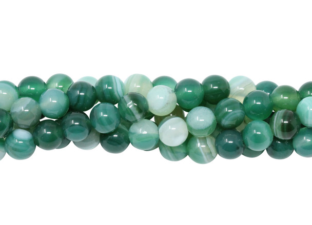 Striped Green Agate Polished 6mm Round