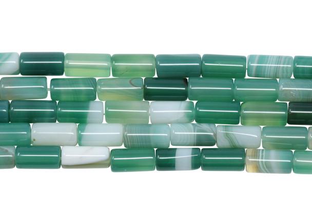 Striped Green Agate Polished 6x12mm Tube