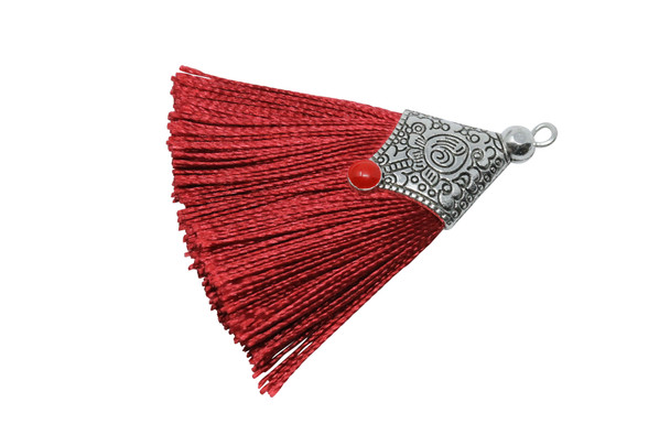 Brick Red 45mm Tassel with Flat Silver Cap