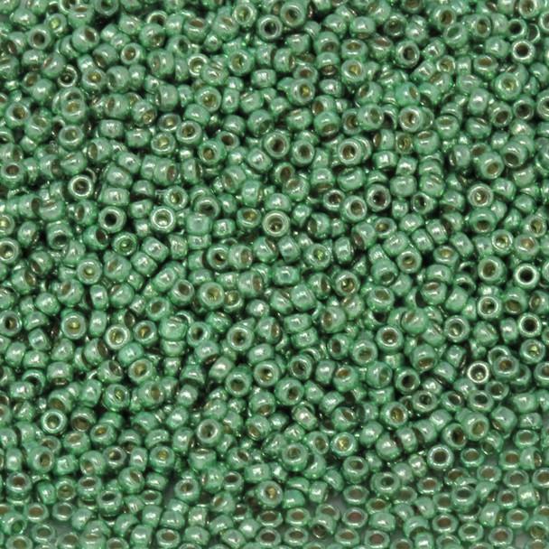 Size 15 Miyuki Seed Beads -- D4214 Duracoat Galvanized Dark Mint Green