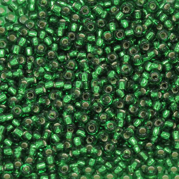 Size 11 Miyuki Seed Beads -- 16 Green / Silver Lined