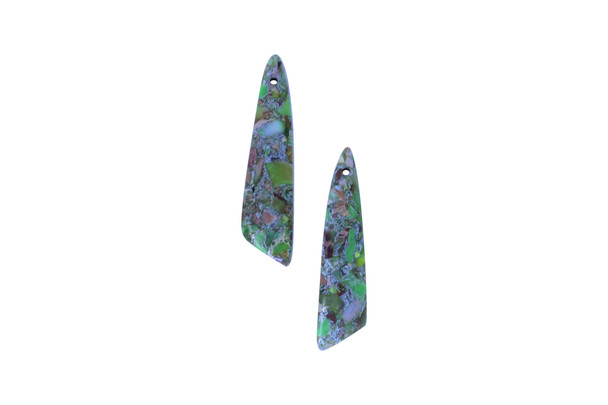 Green Impression Jasper Polished 12x44mm Angled Drop with Pyrite Inlay - Sold as Set