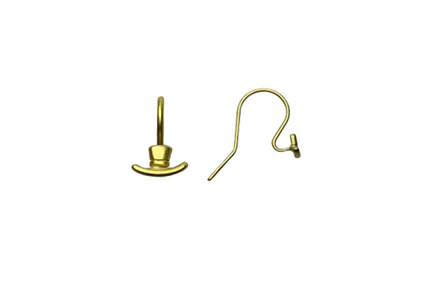 14K Gold over Sterling Silver Frosty Top Hat Earring Wires - Sold as a Pair