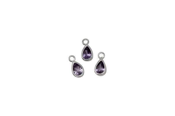 Purple Teardrop Bezel Charm - Sterling Silver