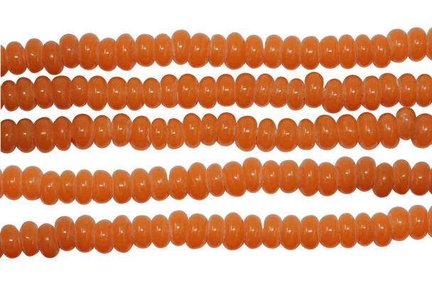 Ghana Glass Polished 6-7mm Spacer - Orange