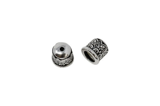 6mm Temple Cord End No Loop - Silver Plated