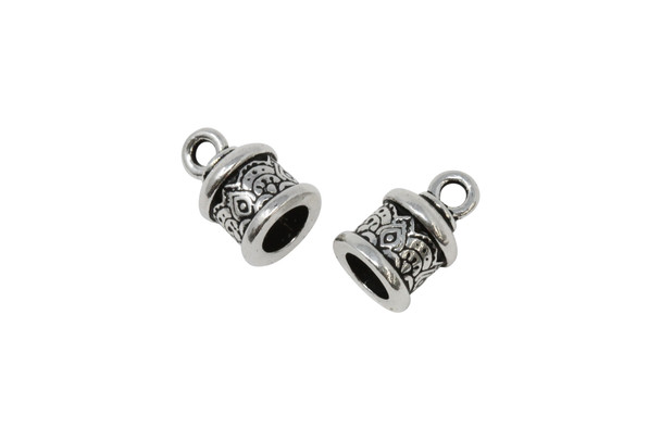 6mm Temple Cord End - Silver Plated