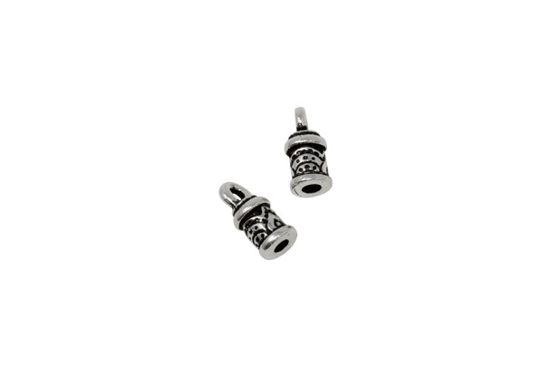 2mm Temple Cord End - Silver Plated